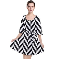 Black And White Herringbone Velour Kimono Dress