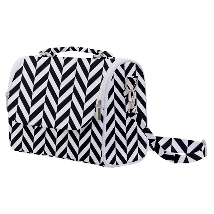 Black And White Herringbone Satchel Shoulder Bag