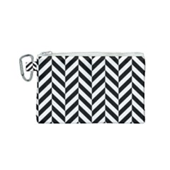 Black And White Herringbone Canvas Cosmetic Bag (small) by retrotoomoderndesigns
