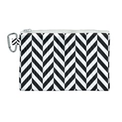 Black And White Herringbone Canvas Cosmetic Bag (large) by retrotoomoderndesigns