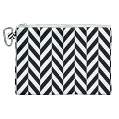 Black And White Herringbone Canvas Cosmetic Bag (xl) by retrotoomoderndesigns