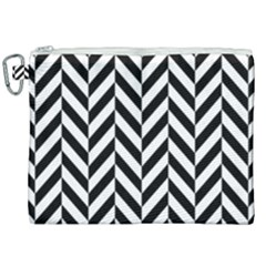 Black And White Herringbone Canvas Cosmetic Bag (xxl) by retrotoomoderndesigns