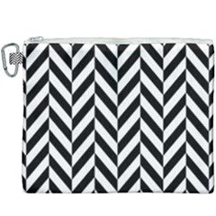 Black And White Herringbone Canvas Cosmetic Bag (xxxl) by retrotoomoderndesigns