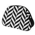 Black And White Herringbone Full Print Accessory Pouch (Small) View1