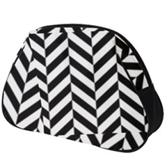 Black And White Herringbone Full Print Accessory Pouch (big) by retrotoomoderndesigns