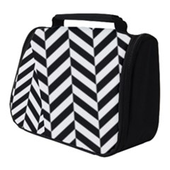 Black And White Herringbone Full Print Travel Pouch (small) by retrotoomoderndesigns