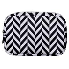 Black And White Herringbone Make Up Pouch (small) by retrotoomoderndesigns