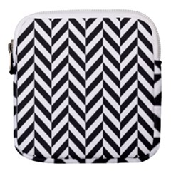 Black And White Herringbone Mini Square Pouch by retrotoomoderndesigns