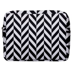 Black And White Herringbone Make Up Pouch (large) by retrotoomoderndesigns