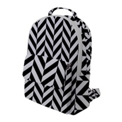 Black And White Herringbone Flap Pocket Backpack (large)