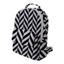 Black And White Herringbone Flap Pocket Backpack (Large) View1