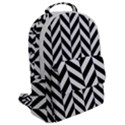 Black And White Herringbone Flap Pocket Backpack (Large) View2
