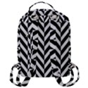 Black And White Herringbone Flap Pocket Backpack (Large) View3
