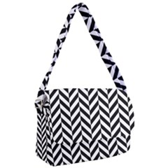 Black And White Herringbone Courier Bag by retrotoomoderndesigns