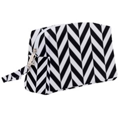 Black And White Herringbone Wristlet Pouch Bag (large) by retrotoomoderndesigns
