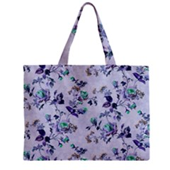 Vintage Roses Purple Zipper Mini Tote Bag