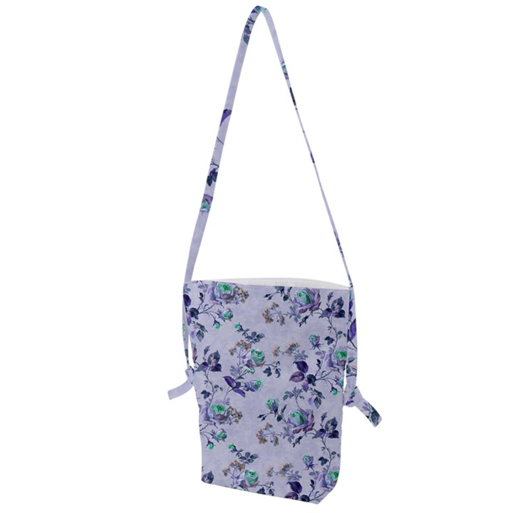 Vintage Roses Purple Folding Shoulder Bag