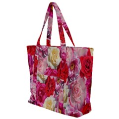 Bed Of Roses Zip Up Canvas Bag