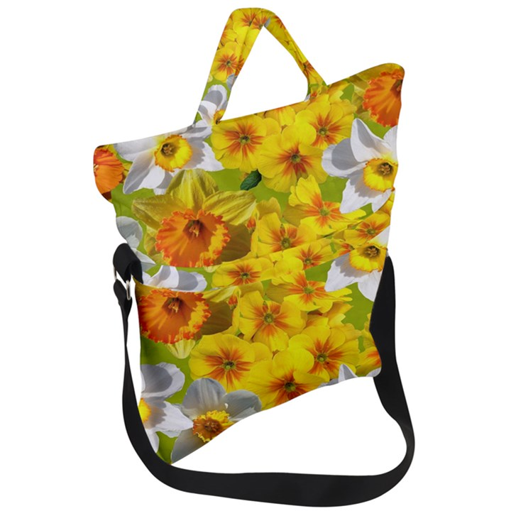 Daffodil Surprise Fold Over Handle Tote Bag