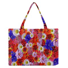 Multicolored Daisies Zipper Medium Tote Bag
