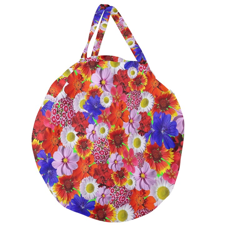 Multicolored Daisies Giant Round Zipper Tote