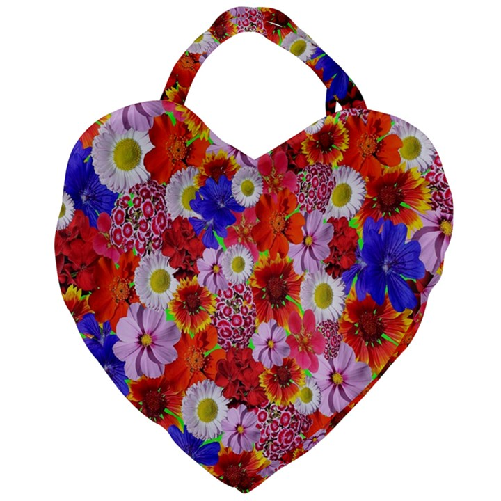 Multicolored Daisies Giant Heart Shaped Tote