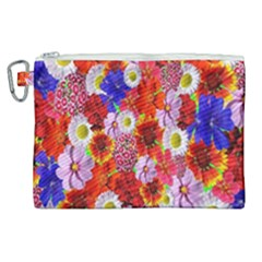 Multicolored Daisies Canvas Cosmetic Bag (xl)