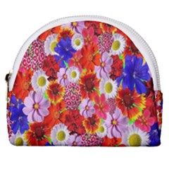 Multicolored Daisies Horseshoe Style Canvas Pouch