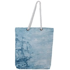 Sail Away   Vintage   Full Print Rope Handle Tote (large)