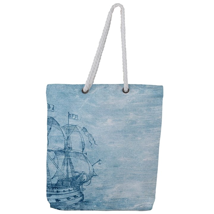 Sail Away - Vintage - Full Print Rope Handle Tote (Large)