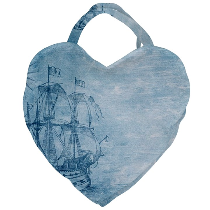 Sail Away - Vintage - Giant Heart Shaped Tote