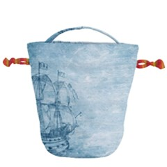 Sail Away   Vintage   Drawstring Bucket Bag by WensdaiAddamns