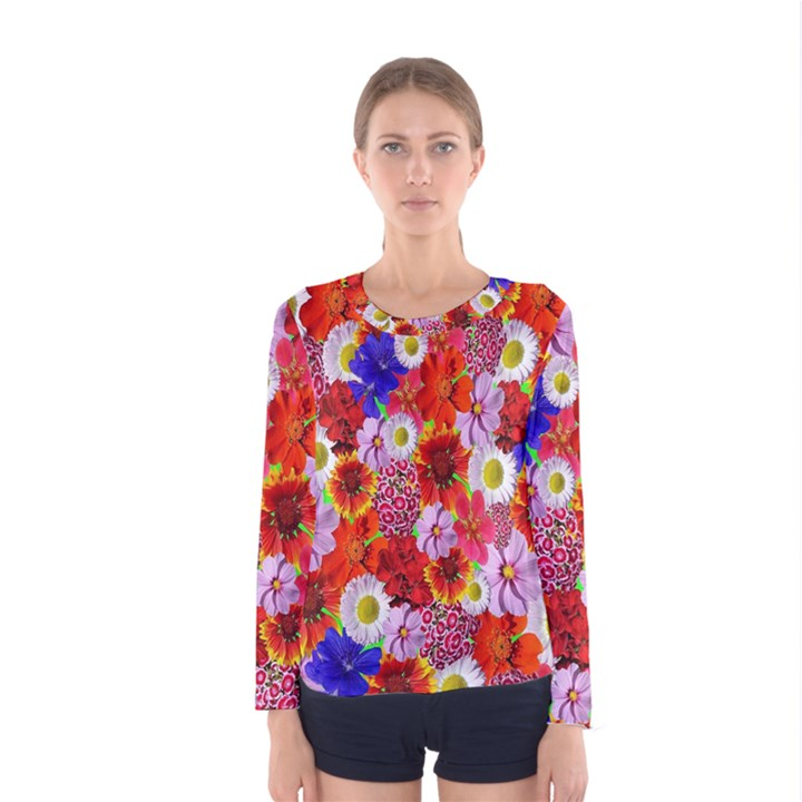 Multicolored Daisies Women s Long Sleeve Tee