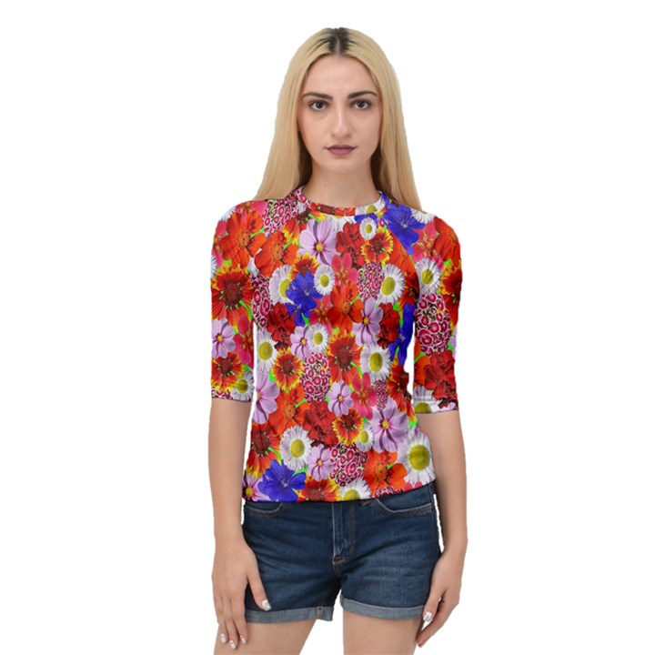Multicolored Daisies Quarter Sleeve Raglan Tee