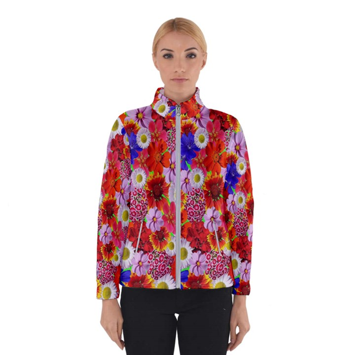 Multicolored Daisies Winter Jacket