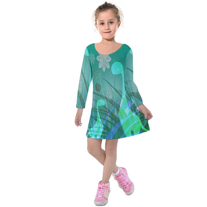 Dinosaur Family - Green - Kids  Long Sleeve Velvet Dress