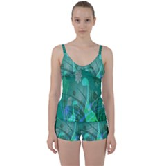 Dinosaur Family   Green   Tie Front Two Piece Tankini