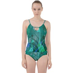 Dinosaur Family   Green   Cut Out Top Tankini Set