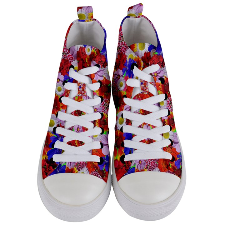 Multicolored Daisies Women s Mid-Top Canvas Sneakers