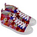 Multicolored Daisies Women s Mid-Top Canvas Sneakers View3