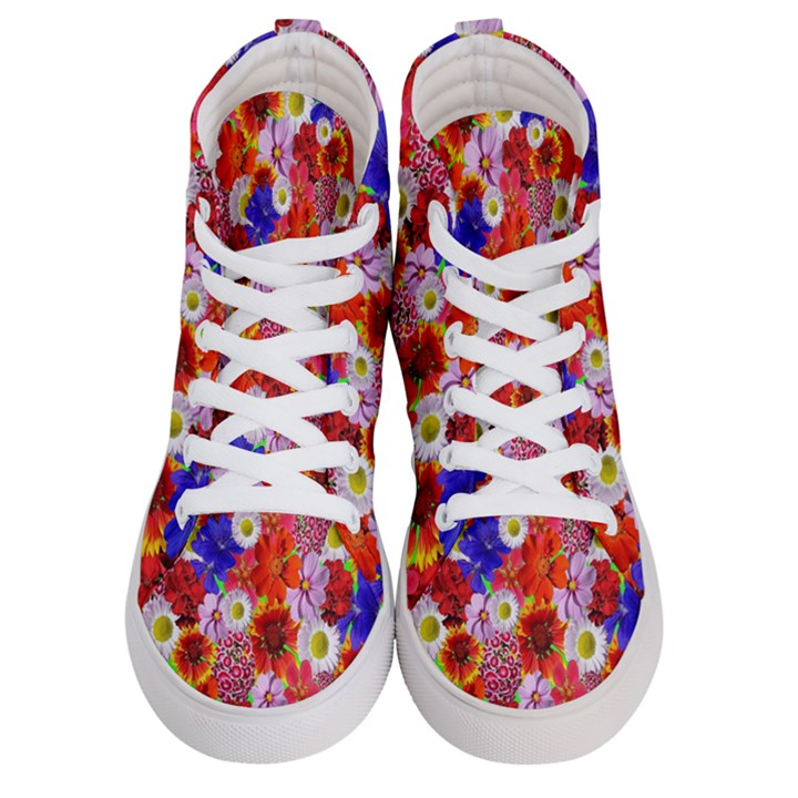 Multicolored Daisies Women s Hi-Top Skate Sneakers