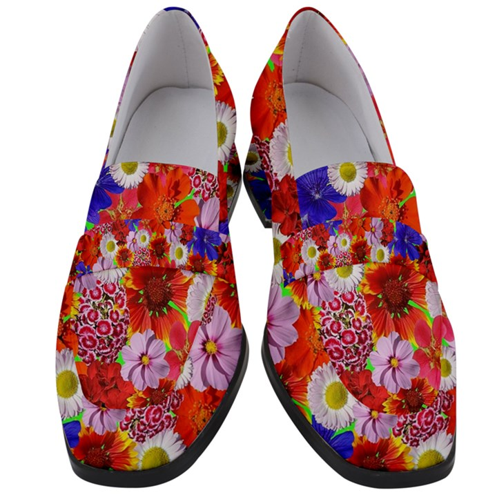 Multicolored Daisies Women s Chunky Heel Loafers