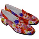 Multicolored Daisies Women s Chunky Heel Loafers View3