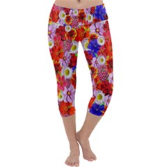 Multicolored Daisies Capri Yoga Leggings