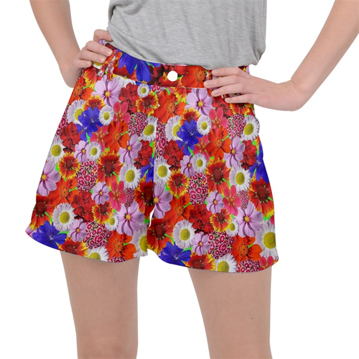 Multicolored Daisies Stretch Ripstop Shorts