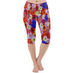 Multicolored Daisies Lightweight Velour Cropped Yoga Leggings