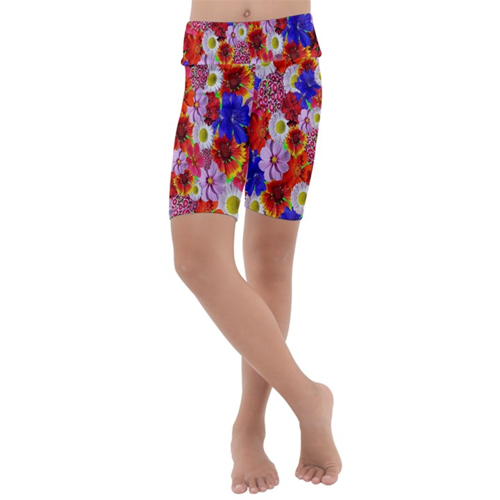 Multicolored Daisies Kids  Lightweight Velour Cropped Yoga Leggings