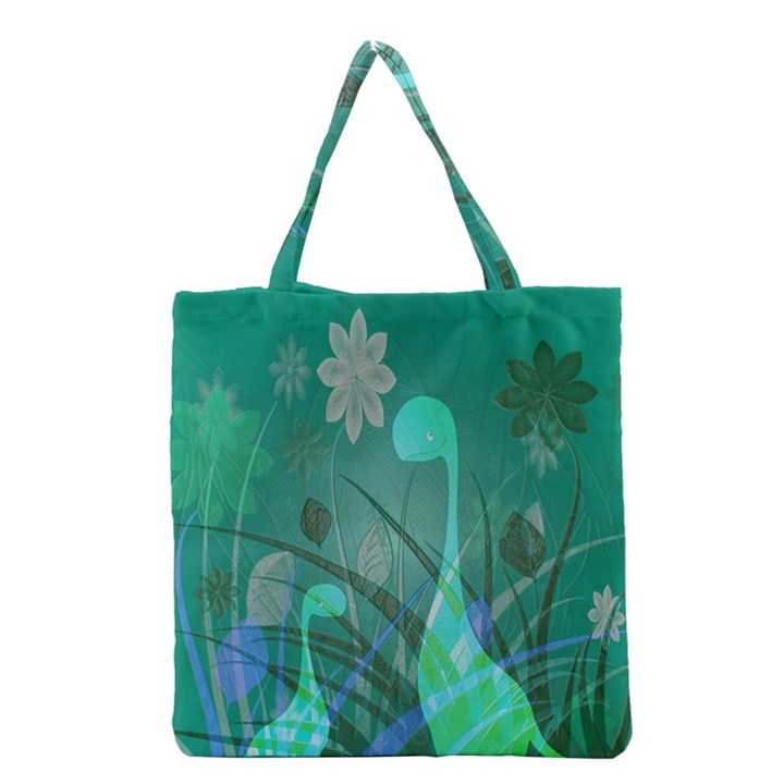 Dinosaur Family - Green - Grocery Tote Bag