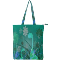 Dinosaur Family   Green   Double Zip Up Tote Bag