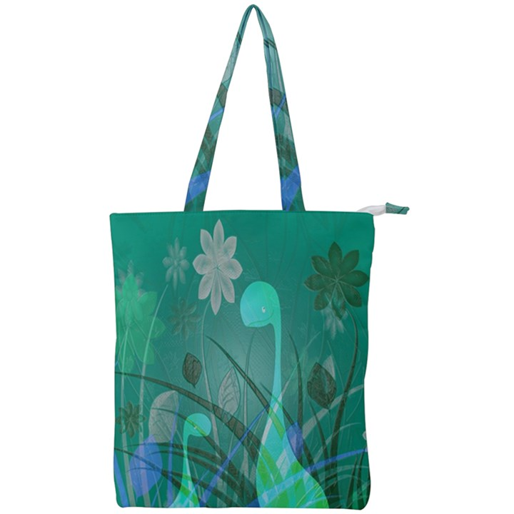 Dinosaur Family - Green - Double Zip Up Tote Bag